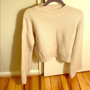 Honey Punch Sweaters - Light tan ribbed, wide sleeve sweater